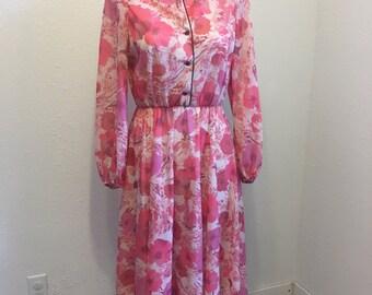 Vintage Dress, vintage pink dress, vintage sheer dress, 1960s dress, mandarin collar dress, 36-20-50