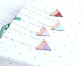 Colorful geometric necklace enamel on copper - quirky art deco style triangular pendant
