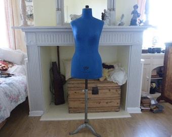 Gorgeous Vintage French Mannequin 1950s / 1960s Tailors Dress Dummy Cleo Paris Blue