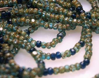6/0 Aqua/Royal BLue W/ Heavy Picasso Rocaille Glass Seed beads 14 IN. Strand