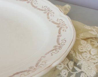 "Cream Shabby Chic Oval Platter Vintage Knowles China Gold Metallic Border 13.5"" Romantic Shabby Chic Cottage French Farmhouse Style Decor"