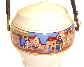1930s Crown Ducal Cries of London AG Richardson Biscuit Barrel Vintage Cookie Jar Ice Bucket Wicker Handle Festive Table Serving Kitchenalia