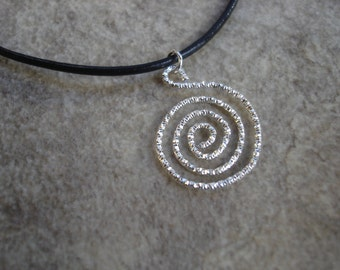 Upcycled Swirl Charm Leather Necklace, Minimalist Jewelry, Modern Grunge