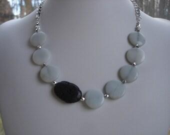 Amazonite and Black Lava Stone Asymmetrical Bib Necklace, Gemstone Jewelry, OOAK Jewelry