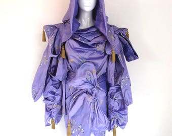 BURBO Oriental hooded silk 'Revolution' coat dress