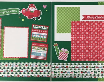 Pre-made Christmas Scrapbook Page Layout 2 pages 12x12