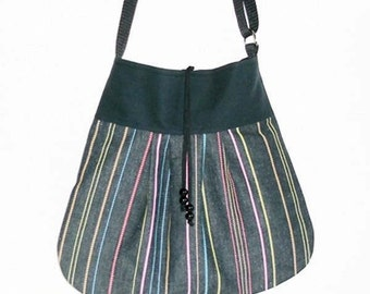 Bag - cotton black-colored striped, shoulder bag