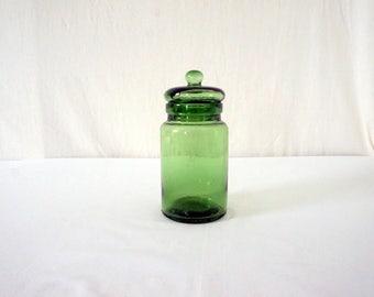 Vintage Glass Kitchen Jar 70s Bubble Hand Blown