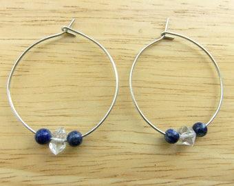 ON SALE Half Price Lapis Hoops, Blue Stone Hoops, Herkimer Diamond Earrings Hoop, Boho Stone Jewelry, Navy Blue Lapis Lazuli, Hoop Earrings