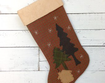 Personalized Christmas Stocking, Rustic Christmas Stocking, Cabin Christmas, Woodland Stocking, Family Christmas Stockings, Large Stocking