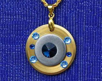 NECKLACE Pendant BRASS Stainless STEEL Industrial Design Unique Gold Blue Swarovski Crystals Chic Modern Sophisticated Dare to Wear