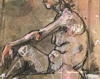 ORIGINAL figure drawing-Female Nude-Life study-Expressive art-Gesture drawing-NEW SIZE-Art on paper-Mixed media-Affordable art-Charcoal art