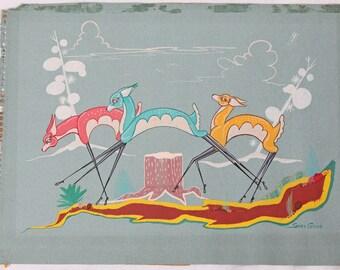 Grey Cohoe Original Navajo Painting Leaping Deer Native American Vintage Listed Artist