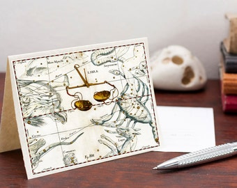 Zodiac Card Zodiac Sign Libra Constellation Greeting Card Printable Digital File Instant Download Birthday Card PDF Download File Birthday