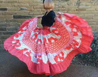Festival gypsy skirt. Bohemian upcycled clothing. Tribal belly dance costume. 15 yard poppy red skirt. Small to plus size. Gift for her
