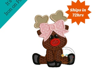 Rudett Christmas girl reindeer machine embroidered fabric iron on no sew patch, ready to ship holiday applique