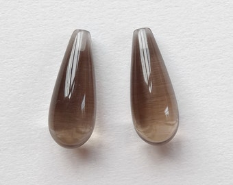 Smoky Quartz Half Top drilled Smooth Teardrop Briolettes 8x20 mm One Pair for earrings G6512 J6338