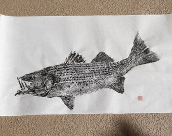 STRIPED BASS Original Gyotaku - traditional Japanese fish art Striper Rockfish (3)