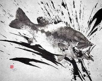 LARGEMOUTH BASS Silhouette Ink Splash Black Bass Gyotaku print - traditional Japanese fish art - by dwight hwang