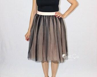Betty Black Polka Dot Tulle Skirt, Polka Dot Tutu, Black Tulle Skirt, Bridesmaids Skirt, Plus Size Tutu, Midi Tulle Skirt, Wholesale