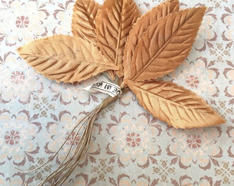 Pretty Vintage Store Stock Golden Millinery Leaves