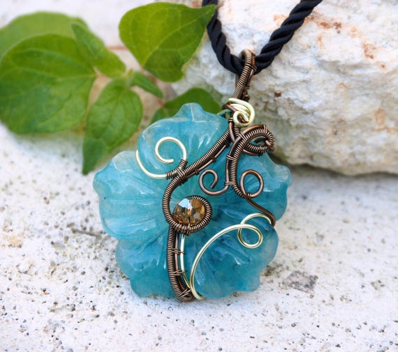 Flower pendant Amazonite wire wrapped handmade jewelry Something Blue Anniversary Christmas gift for her girlfriend mother Nature jewelry