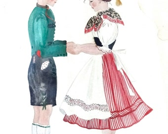 Kunstgewerbe German Folk Art Watercolor Children Costumes Signed Heincking Vintage Painting