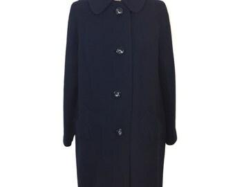 vintage 1960s camel hair coat / Cherry & Webb / navy blue / winter coat / women's vintage coat / size medium