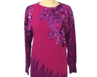 vintage 1980s embellished sweater / Suzelle / floral / pink purple / angora blend / women's vintage sweater / tag size medium