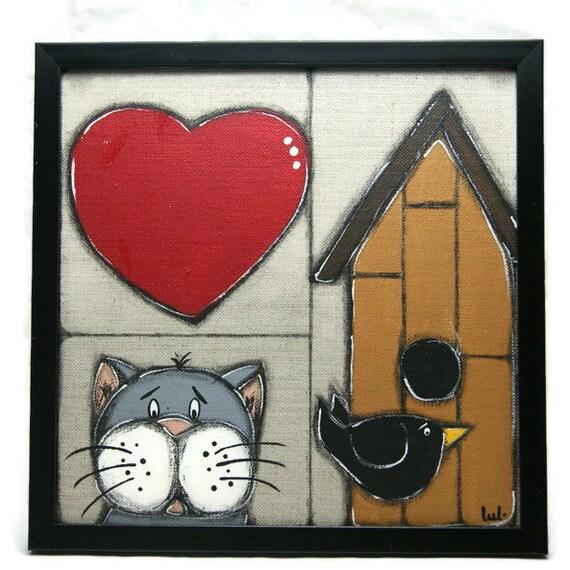 chat gris coeur rouge et oiseau noir peints sur une toile de. Black Bedroom Furniture Sets. Home Design Ideas