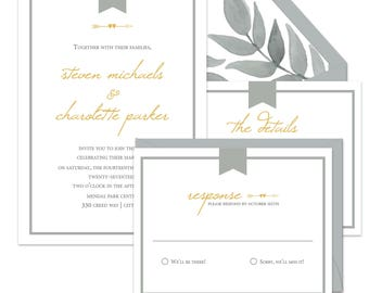 Grey and Gold Wedding Invitation Suite {Captured}