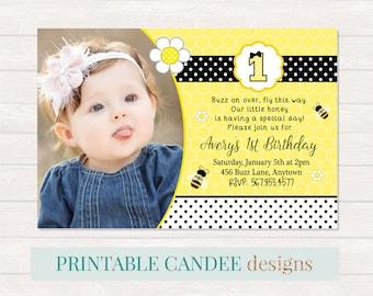 Bee Birthday Invitation - Bumble Bee Birthday - Bee Party - Bee Invitation - Girl Bee Birthday - Bee Printables - DIY Custom Printable
