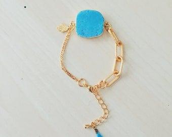 24k Gold Turquoise Hamsa Bracelet