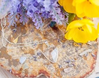 Clear Quartz Triangle Pendant - Clear Quartz Necklace - Faceted Quartz - Triangle Necklace - Gemstone Necklace - Boho Necklace