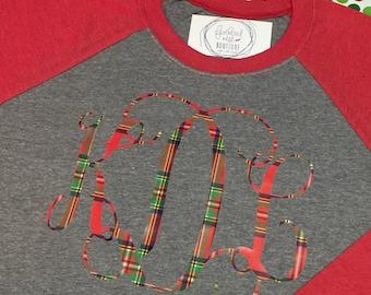 Holiday Monogram Raglan Shirt - Christmas Monogrammed Raglan Tee - Tartan Monogram Baseball Tshirt - Christmas Monogram Raglan Shirt