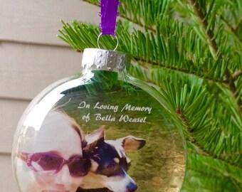 Christmas Photo Ornaments - Family Christmas Ornaments - Housewarming Ornaments - Custom Pet Ornaments - 3 & 1/8 Inch Glass Disc