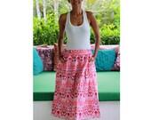 Mid Calf Skirt Ethnic Red, Tribal Skirt, Red Ikat Skirt, Midi Skirt, Women's Long Skirt