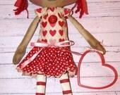 Red Hearts Valentine's Day Lucy Anne - Primitive Raggedy Ann Dolls (HAFAIR)