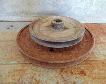 2 Shabby metal wheel pulleys RUSTY metal industrial SALVAGE farmhouse loft