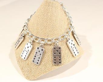 Dominoes Charm Bracelet, Gift for Dominoe Player, Dominoes Charm, Dominoes Jewelry, Game Jewelry, Dominoes Player Gift, Games