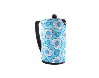 Blue Blossoms French Press Coffee Pot Cozy, Fits Bodum Brazil Style French Coffee Maker, Fabric Coffee Press Cozy, RedLeafStitchCraft