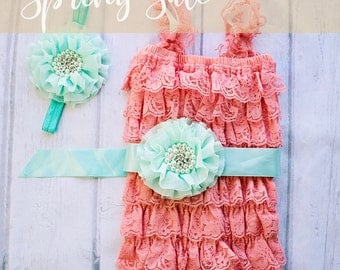 Easter Outfit, First Easter Outfit, Coral Mint Easter Outfit, Coral Lace Romper, Coral Romper, 1st Easter Outfit, Lace Romper,