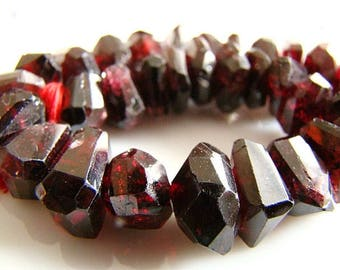 Amazing Pyrope Garnet Fancy Cut, Blood Red Garnet, Center Drilled Faceted Nuggets, (5) Beads per lot