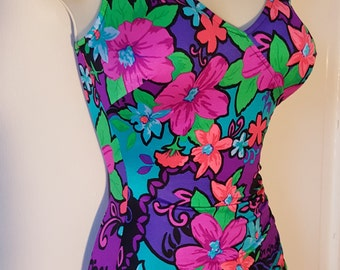 MAXINE OF HOLLY Swimsuit // Vintage 60's Bright Floral Bombshell Pin Up Beach One Piece Festival Dancer Plus Size 12 Neon Ruched Boyshort