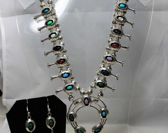 Navajo Multi-Stone Squash Blossom Necklace and Earring Set