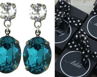 Teal Bridesmaid Earrings Set of 3 4 5 6 7 8 9 10 Pairs Oval Long Round Stud Custom Turquoise Wedding Swarovski Crystal Also Avail As Clip On
