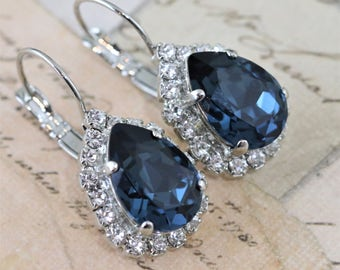 Navy Blue Earrings Blue Earrings Crystal Earrings Dangle Silver Earrings Pear Shaped Earrings Navy Bridesmaid Avail As Clip On Swarovski