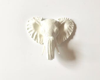 Faux Taxidemy Small Elephant Wall Hanging in WHITE : Pinda the elephant / nursery wall decor / safari animal / kids room / office / mini