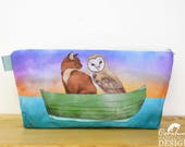 Owl and Pussy Cat Toiletry Wash Bag / Makeup Bag / Pencil Case