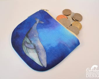 Whale Coin Purse, Handmade Purse, Zip Purse, Make-up Bag